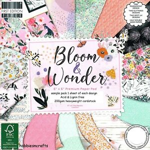 BLOOM & WONDER Dovecraft 6 x 6 Sample Paper Pack - 1 of each 16 Sheets 200gsm
