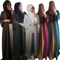 Women Open Front Kimono Cardigan Long Maxi Dress Abaya Muslim Kaftan Dubai Robes