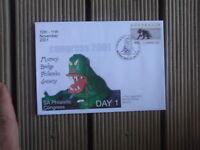 CONGRESS 2001 COUNTERPRINTED STAMP COVER DAY 1 BUNYIP