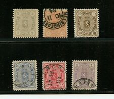 Finland #25-30 (Fi734) Complete 1881-3 perf 12 1/2, Coat of arms, U, Cv$752.50