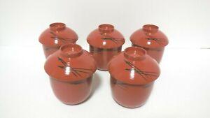 Japanese Tea Ceremony Lacquered Soup Bowl wooden Matsuba Kosuimonowan Set of 5
