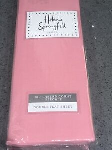 HELENA SPRINGFIELD LONDON  PINK DOUBLE FLAT SHEET 180 thread count percale BNWT