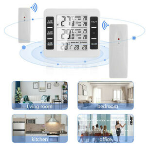 2 Sensor Wireless Digital Thermometer Forecast Freezer Fridge Alarm IN Outdoors