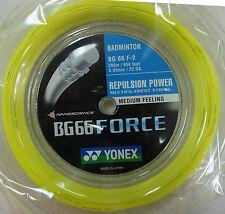 YONEX Badminton String BG66 Force BG 66 F, 200 m, YELLOW, Maximum Power/Control