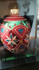 KURT S ADLER KSA EUROPEAN STYLE GLASS red star EGG SHAPED ORNAMENT NEW IN BOX
