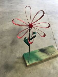 All recycled metal hand made red poppy welded flower rock garden stake yard art