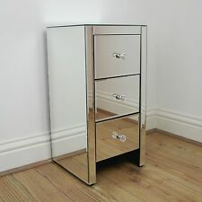 Venetian Mirror Contemporary Slim Bedside Table 3 Drawer Chest Cabinet Bedroom