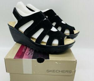Skechers Women Parallel Stylin Suede Peep-toe Slingback Wedge Sandals Black