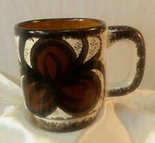 1940's Handmade Hawaiian Coffee Cup Mug by Ele Artist Made Bark Cloth Print RARE