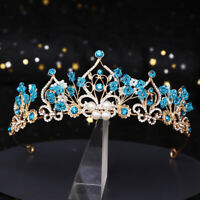 6cm High Ocean Blue Crystal Gold Tiara Crown Bridal Wedding Party Prom Pageant