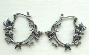 Nocturnal Moth Boho Hoop Earrings Silver Earrings DIXI