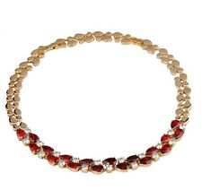 14k Yellow Gold GF Necklace made w/ Swarovski Crystal Red Clear Stone Statement