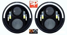 "Land Rover Defender 7"" LED 2 X Black Halo Faros e marcado RHD 90 110 Jeep"