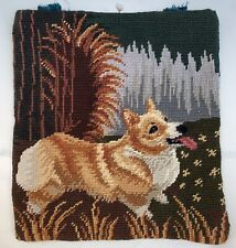 Corgi Dog Needlepoint Only Petit Point Eyes Cute 11�x12� Velveteen Back Purse