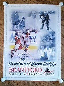 Wayne & Walter Gretzky signed Hockey Poster Brantford Canada Dad/Son/Rangers/Ice