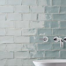 Ceramic Wall Tile Kitchen Backsplash Bathroom Flooring Subway Blue Grey Floor
