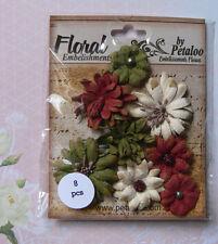 Medium Mix Burgundy Cream Green 6 Flowers 35-40mm Paper Darjeeling Petaloo H