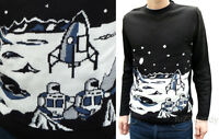 MOON Landing sci-fi geek JUMPER NEW space vtg indie retro nerd 80's spaceman 70s