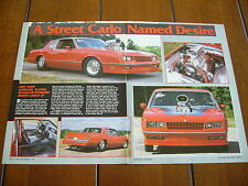 1984 CHEVROLET MONTE CARLO SS SUPERCHARGED PRO STREET ***ORIGINAL ARTICLE***