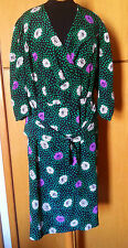 Classic Vtg 80S Silk Floral Polka Dot Career Office Party Cocktail Dress L-Xl