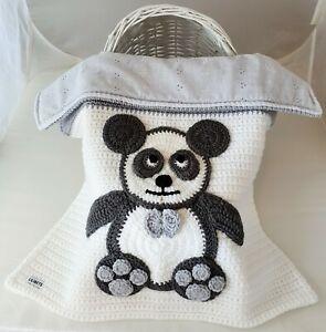 Baby Blanket Hand Crochet Knitted Grey White Panda Baby Shower Gift Pram Moses