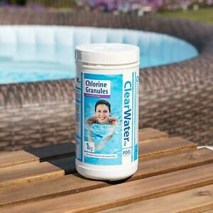 CLEARWATER Chlorine Granules 1kg Swimming Pool Spa Water Treatment Lazy-spa