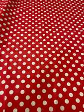 """White on red half inch polka dot poly cotton mask Fabric 58"""" WIDE"""