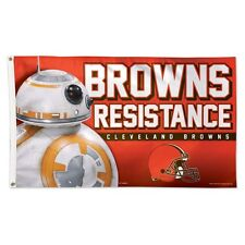 New listing Cleveland Browns Star Wars Bb-8 Browns Resistance 3'X5' Deluxe Flag New