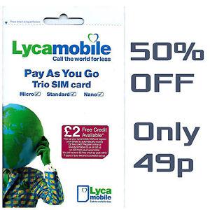 Lyca Mobile SIM Card PAY AS YOU GO SEALED 4G Data Trio Sim nano mini PAYG