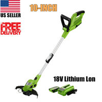 10'' Light Weight Cordless String Trimmer Edger 18V Lithium Lon Auto Single-Line