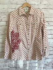 Ariat Womens Fitted Embroidered Floral Striped Snap Button Shirt Sz. L C31