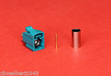 "1 x FAKRA Universal Female RG58 Waterblue Code Z Connector ""NEW"""