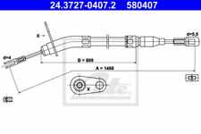 Seilzug, Feststellbremse für Bremsanlage Hinterachse ATE 24.3727-0407.2