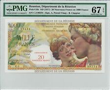 Reunion ND(1971) 20 NF on 1000 Francs PMG 67 EPQ P-55b RARE