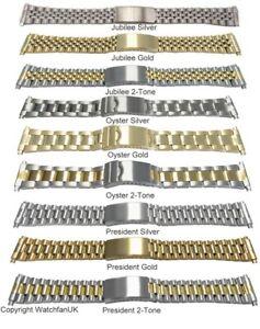 Watch Bracelet Fits Most Models Jubilee Oyster President 18mm 20mm 22mm