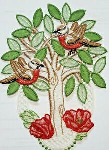 Plauener Spitze ?? Fensterbild  Spitzenbild Fensterdeko  Baum mit Vögel  NEU