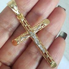 Big 14k Yellow white Gold Jesus Crucifix Cross Pendant charn 2.35 inches long