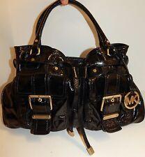 Michael Kors Black Patent Leather Double Pocket Shoulder Bag