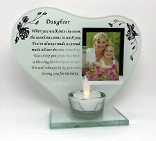 Daughter Poem Glass Photo Frame Memorial Tea Light Candle Holder Plaque