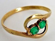 Anillo de Oro de 18 cts con 2 esmeraldas naturales