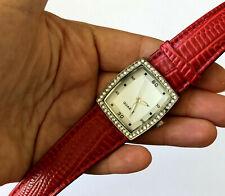 Singapore Movement Red Band Quartz Clear Stone Wrist Ladies Watch Runs