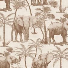 Elephant Grove Coffee Wallpaper Jungle Tropical Palm Trees Birds Paste The Wall