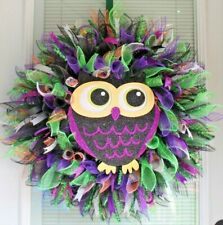 FEATHERY, WIDE-EYED OWL ~Halloween Decor, Or bird lover! Beautiful Colors