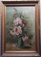 Antique oil painting French Impressionist Bouquet of Roses signed c1910