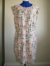 MARKS AND SPENCER LIMITED COLLECTION DRESS UK SIZE 14 BIRDS PEACH MIX RRP 35£