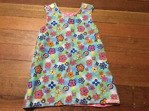 Toddler ALIOOPS BLUE MOUNTAINS 70's Style Flower Power Cotton Dress 4-5yrs