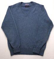 D537 Vtg USA Pendleton Blue Gray Pure Lambswool Wool V-Neck Sweater Vest sz Med