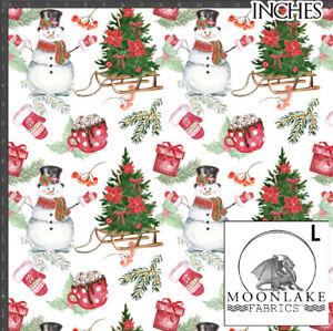 Snowmen Toboggan Christmas Tree 100% Quality Cotton Poplin Fabric *Exclusive*