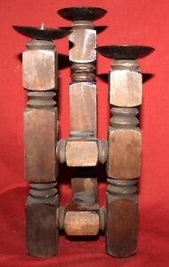 Vintage Wood Candle Holder Candelabra