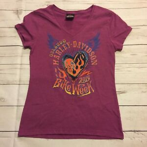 Orlando Florida HARLEY-DAVIDSON 2015 Bike Week Pink/Purple Shirt Size S #1